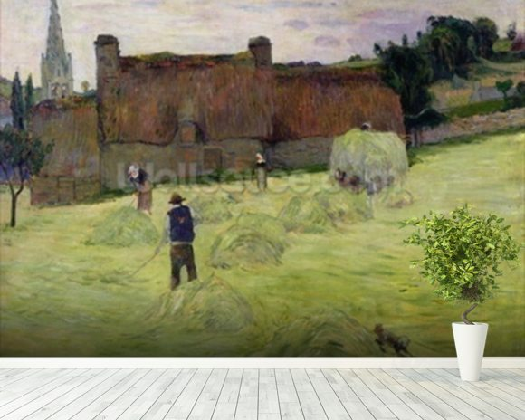 Haymaking in Brittany, 1888 (oil on canvas) mural wallpaper room setting