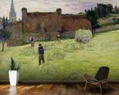 Haymaking in Brittany, 1888 (oil on canvas) mural wallpaper kitchen preview