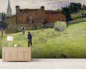Haymaking in Brittany, 1888 (oil on canvas) mural wallpaper living room preview