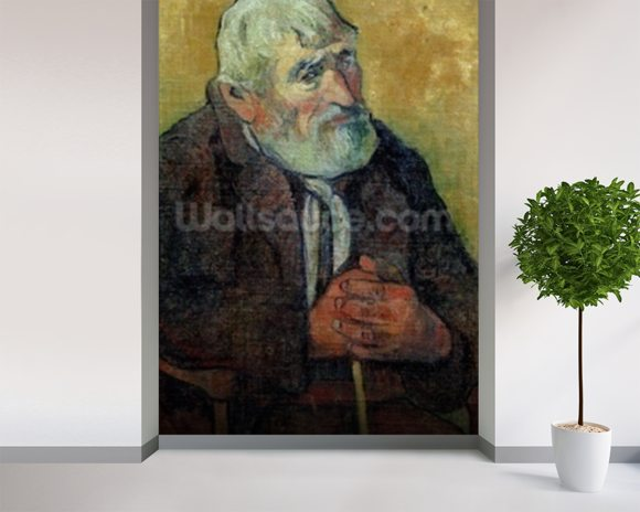 Portrait of an Old Man with a Stick, 1889-90 (oil on canvas) wallpaper mural room setting