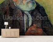 Portrait of an Old Man with a Stick, 1889-90 (oil on canvas) wallpaper mural living room preview