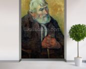 Portrait of an Old Man with a Stick, 1889-90 (oil on canvas) wallpaper mural in-room view