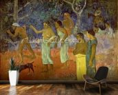 Scene from Tahitian Life, 1896 (oil on canvas) mural wallpaper kitchen preview