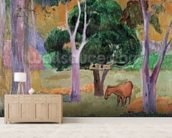 Dominican Landscape or, Landscape with a Pig and Horse, 1903 (oil on canvas) wallpaper mural living room preview