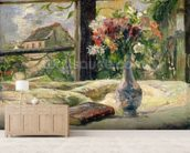 Vase of Flowers (oil on canvas) mural wallpaper living room preview