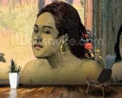 Eiaha Ohipa or Tahitians in a Room, 1896 (oil on canvas) (detail of 47617) mural wallpaper kitchen preview