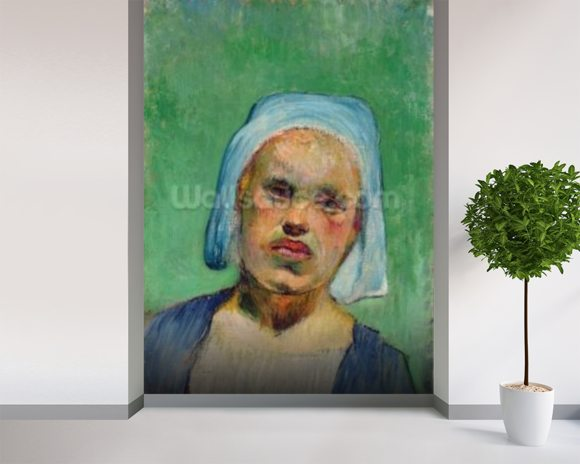 Head of a Breton (oil on canvas) mural wallpaper room setting