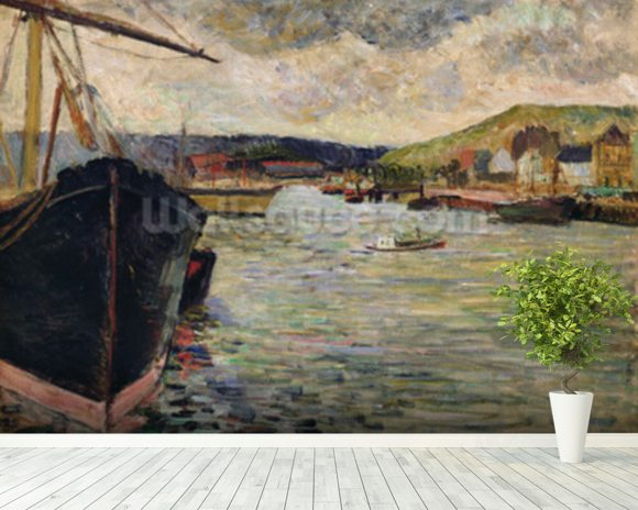 Port at Rouen (oil on canvas) wall mural room setting
