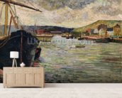 Port at Rouen (oil on canvas) wall mural living room preview