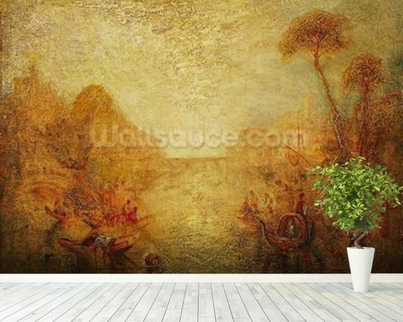 Landscape (oil on canvas) mural wallpaper room setting