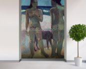Two Tahitian Women on the Beach, 1891 (oil on canvas) wallpaper mural in-room view