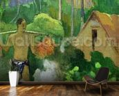 Landscape in Tahiti (Mahana Maa) 1892 (oil on canvas) wallpaper mural kitchen preview