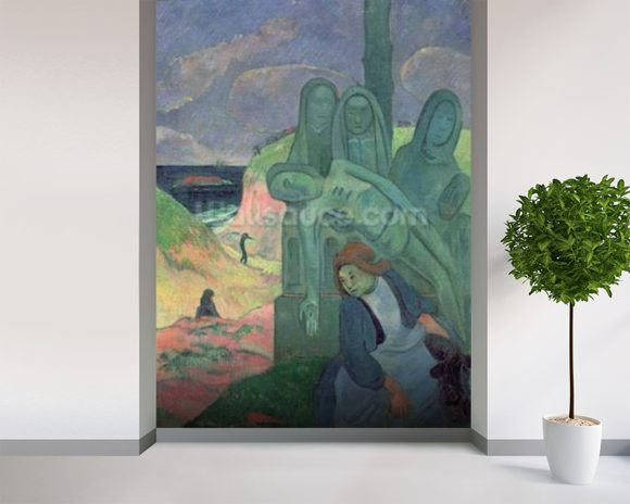 The Green Christ (Breton Calvary) 1889 (oil on canvas) mural wallpaper room setting