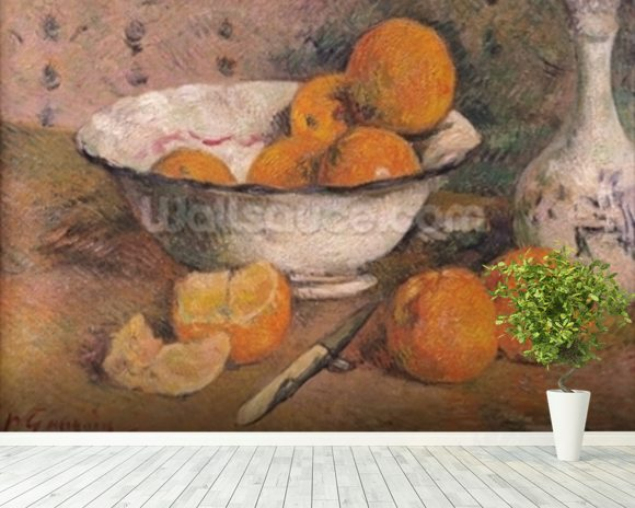 Still life with Oranges, 1881 (oil on canvas) wallpaper mural room setting