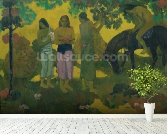 Rupe Rupe (Fruit Gathering), 1899 (oil on canvas) mural wallpaper room setting