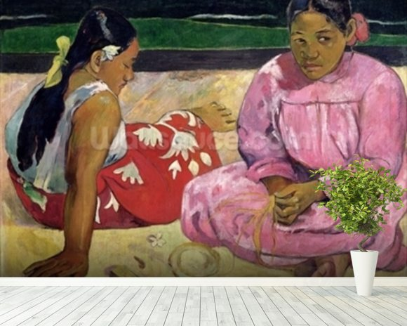 Women of Tahiti, On the Beach, 1891 (oil on canvas) wall mural room setting