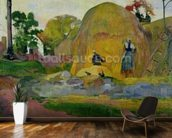 Yellow Haystacks, or Golden Harvest, 1889 (oil on canvas) wallpaper mural kitchen preview