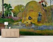 Yellow Haystacks, or Golden Harvest, 1889 (oil on canvas) wallpaper mural living room preview