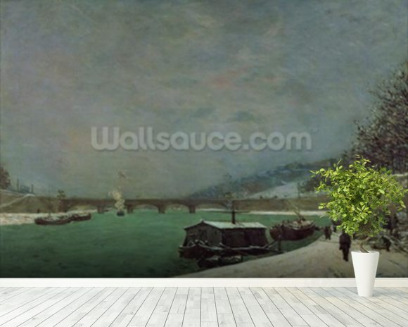 The Seine at the Pont dIena, Winter, 1875 (oil on canvas) wallpaper mural room setting