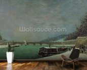 The Seine at the Pont dIena, Winter, 1875 (oil on canvas) wallpaper mural kitchen preview
