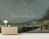 The Seine at the Pont dIena, Winter, 1875 (oil on canvas) wallpaper mural living room preview