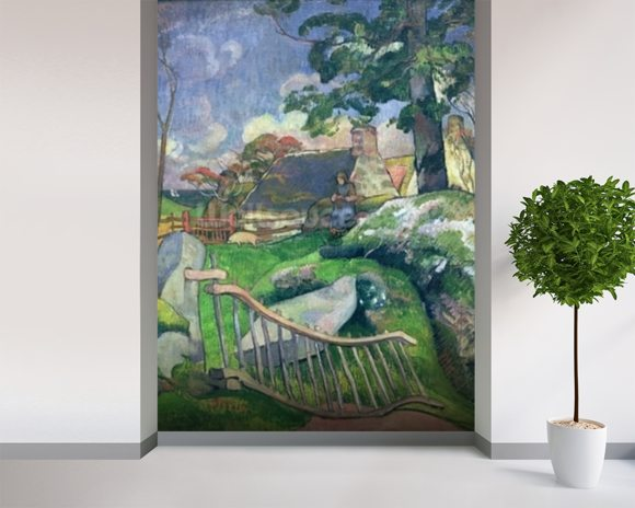 The Wooden Gate or, The Pig Keeper, 1889 (oil on canvas) wall mural room setting
