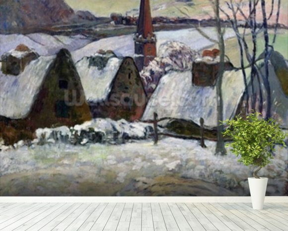 Breton village under snow, 1894 (oil on canvas) wallpaper mural room setting