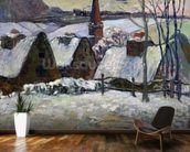 Breton village under snow, 1894 (oil on canvas) wallpaper mural kitchen preview