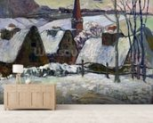 Breton village under snow, 1894 (oil on canvas) wallpaper mural living room preview