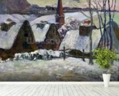 Breton village under snow, 1894 (oil on canvas) wallpaper mural in-room view