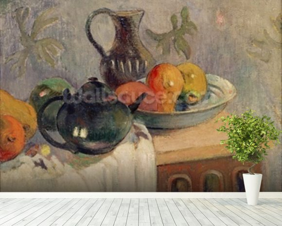 Teiera, Brocca e Frutta, 1899 wallpaper mural room setting