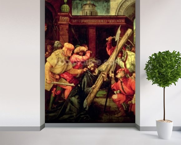 Christ carrying the Cross wallpaper mural room setting