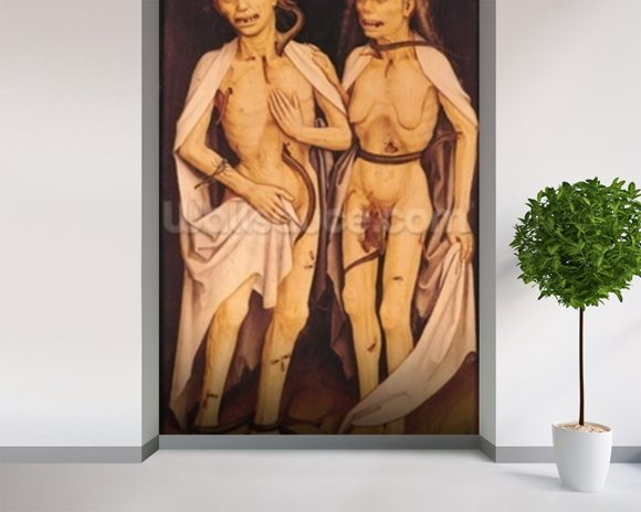 The Dead Lovers (oil on panel) mural wallpaper room setting