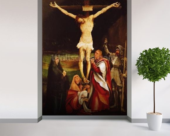Calvary (oil on panel) wall mural room setting