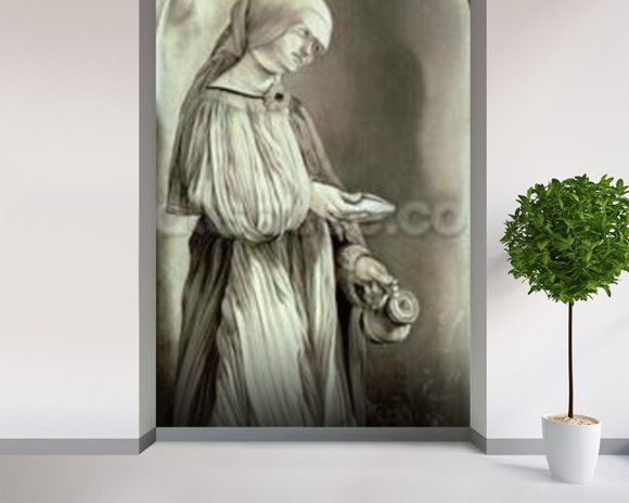 St. Elizabeth of Hungary (1207-31) 1509 (grisaille) mural wallpaper room setting