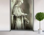 St. Elizabeth of Hungary (1207-31) 1509 (grisaille) mural wallpaper in-room view