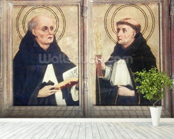Two Dominican Saints (oil on panel) wall mural room setting