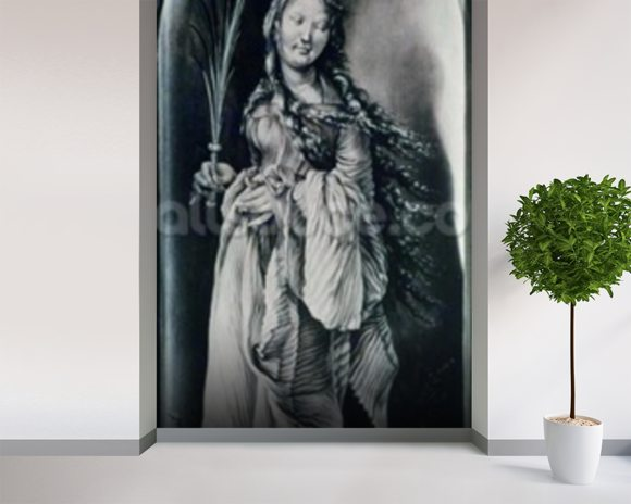 St. Lucy (c.283-c.304) (grisaille) wallpaper mural room setting
