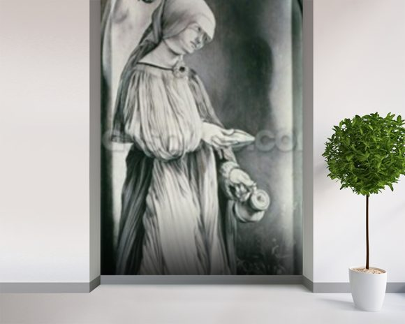 St. Elizabeth (grisaille) mural wallpaper room setting