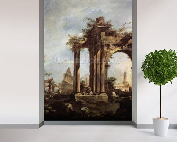 Capriccio with Roman Ruins, a Pyramid and Figures, 1760-70 (oil on canvas) wall mural room setting