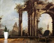 Capriccio with Roman Ruins, a Pyramid and Figures, 1760-70 (oil on canvas) wall mural kitchen preview