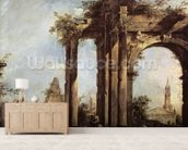 Capriccio with Roman Ruins, a Pyramid and Figures, 1760-70 (oil on canvas) wall mural living room preview
