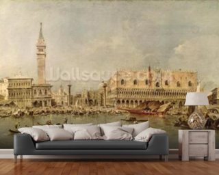 The Piazzetta and the Palazzo Ducale from the Basin of San Marco (oil on canvas) wallpaper mural