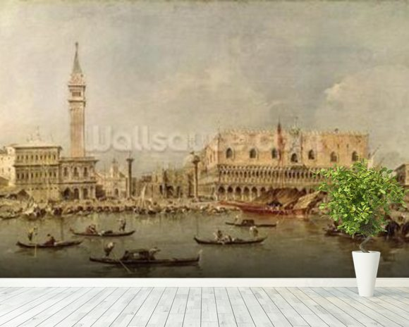 The Piazzetta and the Palazzo Ducale from the Basin of San Marco (oil on canvas) wallpaper mural room setting