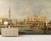 The Piazzetta and the Palazzo Ducale from the Basin of San Marco (oil on canvas) wallpaper mural living room preview