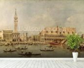The Piazzetta and the Palazzo Ducale from the Basin of San Marco (oil on canvas) wallpaper mural in-room view