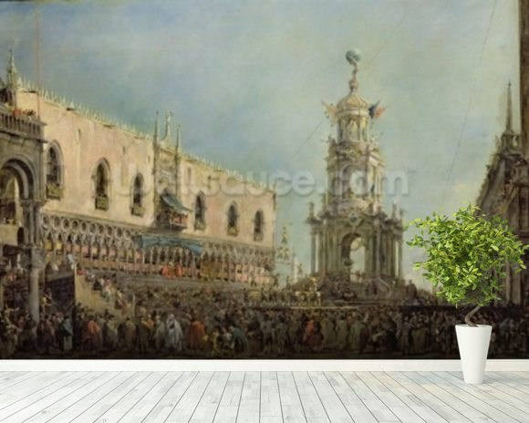 The Doge Watching the Festival of Giovedi Grasso in the Piazzetta di San Marco, 1766-70 (oil on canvas) mural wallpaper room setting
