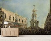 The Doge Watching the Festival of Giovedi Grasso in the Piazzetta di San Marco, 1766-70 (oil on canvas) mural wallpaper living room preview