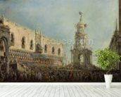The Doge Watching the Festival of Giovedi Grasso in the Piazzetta di San Marco, 1766-70 (oil on canvas) mural wallpaper in-room view