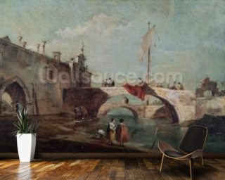 Landscape with a Canal (oil on canvas) wall mural